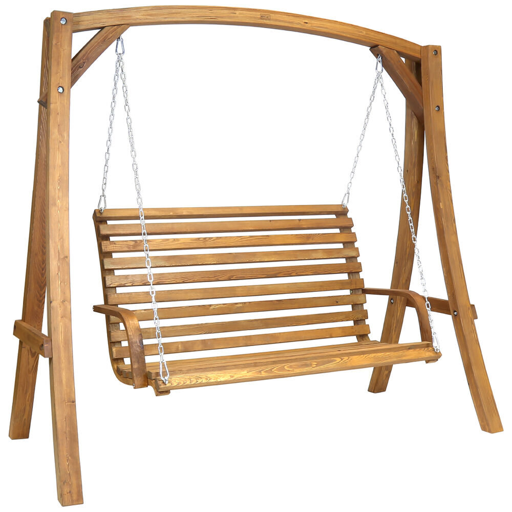 2 3 Seater Larch Wood Wooden Garden Outdoor Swing Seat Bench Hammock 1 9m Ebay