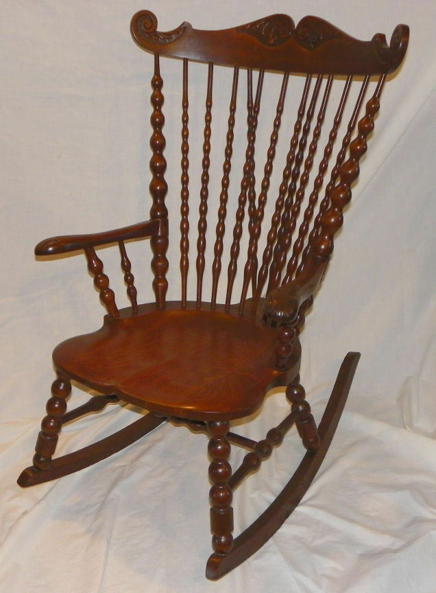 antique victorian high back oak rocker rocking chair ebay. Black Bedroom Furniture Sets. Home Design Ideas