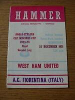 10/12/1975 Anglo-Italian Cup Winners Cup Final: West Ham United v Fiorentina  (C