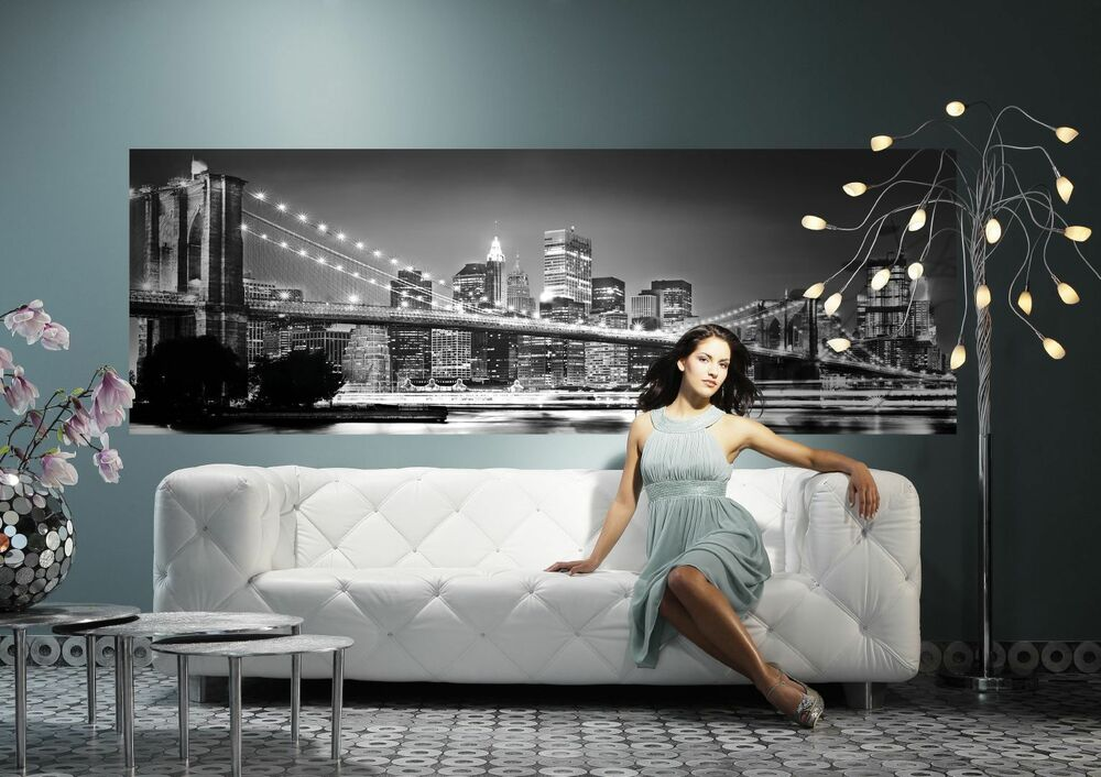 xxl panorama leinwand 155x50 new york usa bild schwarz weiss gem lde lounge ikea ebay. Black Bedroom Furniture Sets. Home Design Ideas