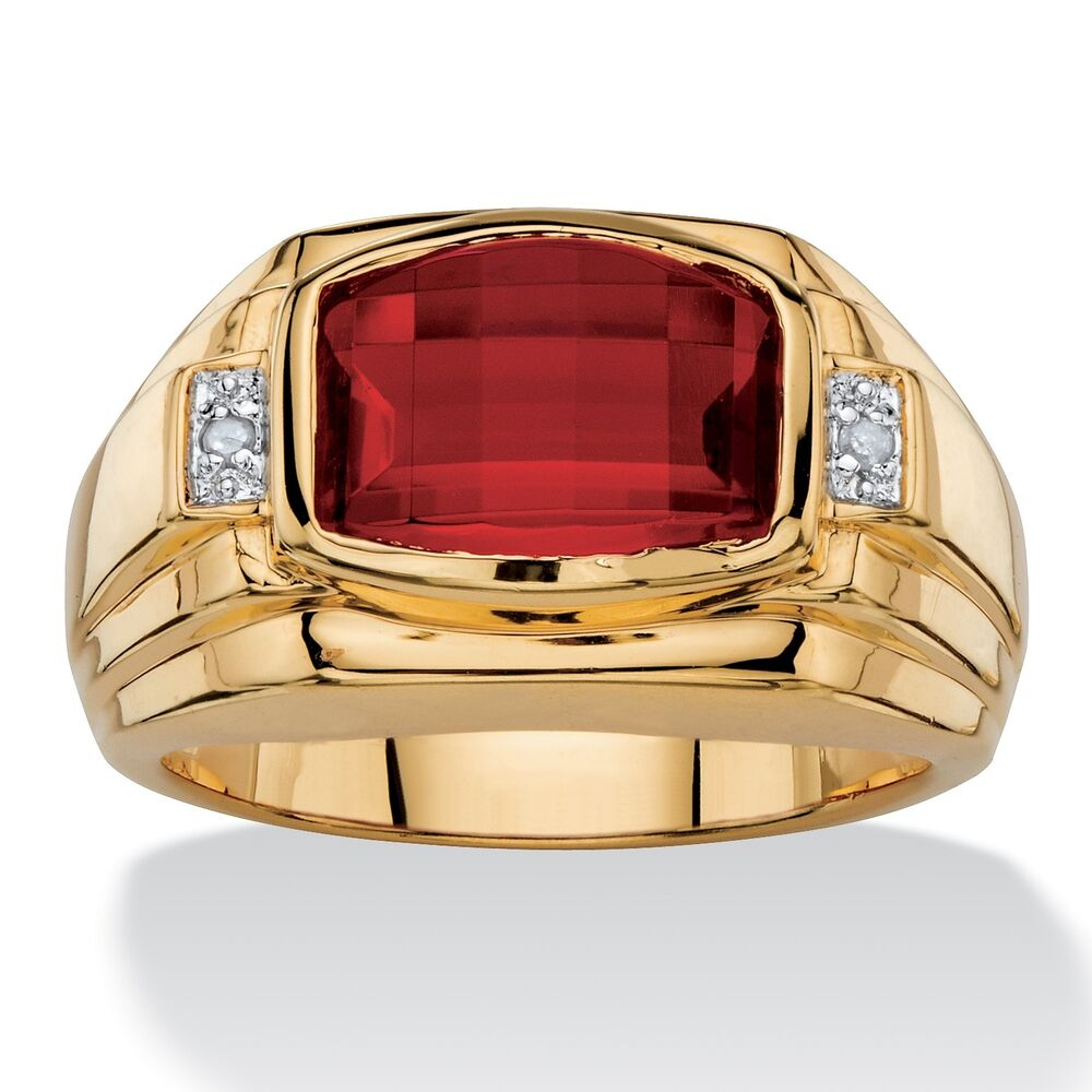 red ruby mens 18k gold diamond accent gp ring size 8 9 10. Black Bedroom Furniture Sets. Home Design Ideas