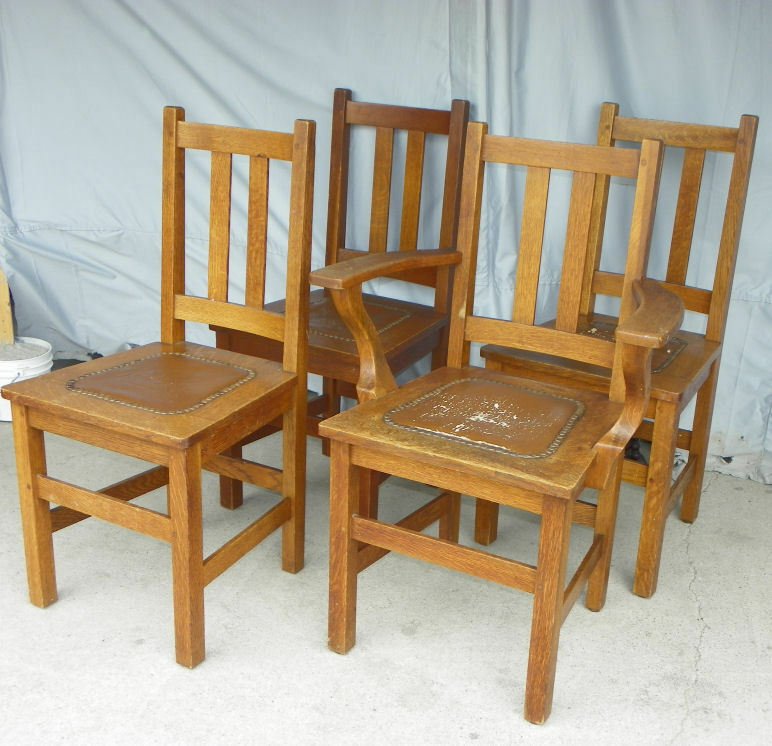 Antique Tractor Furniture : Antique set of four matching mission oak chairs made by