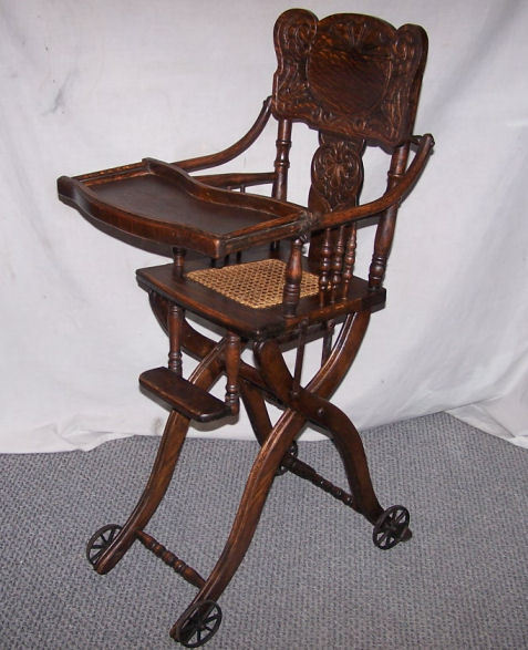 Antique wooden chairs with arms - Antique Oak Folding Up And Down High Chair And Stroller Ebay