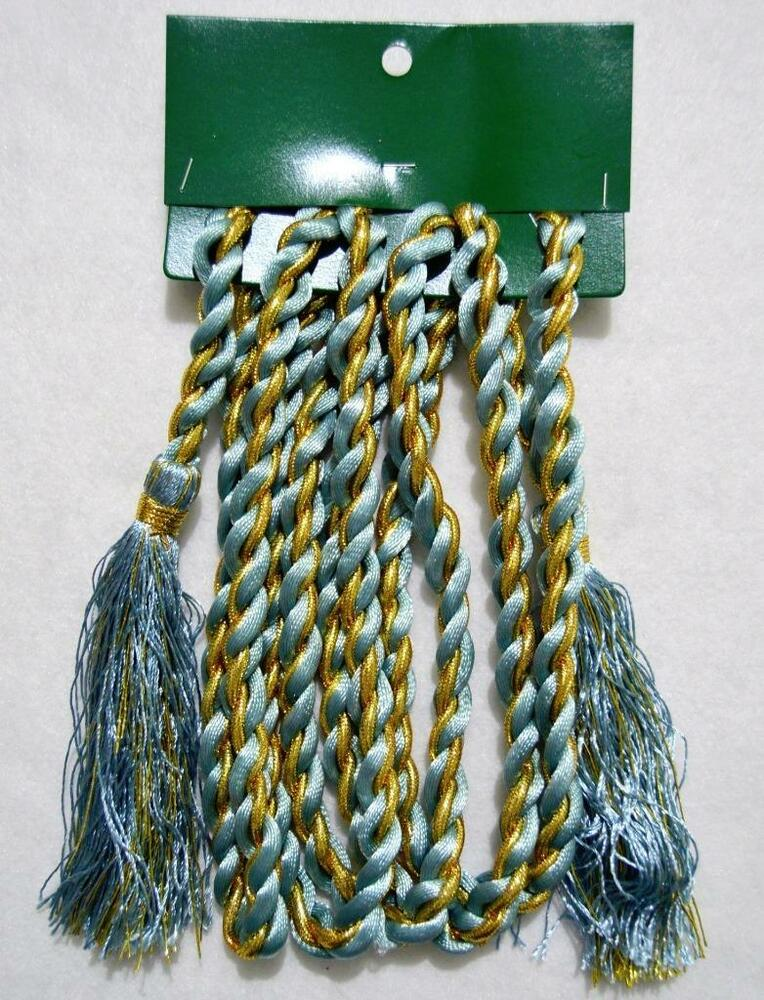 Blue gold satin rope christmas tree garland w tassels
