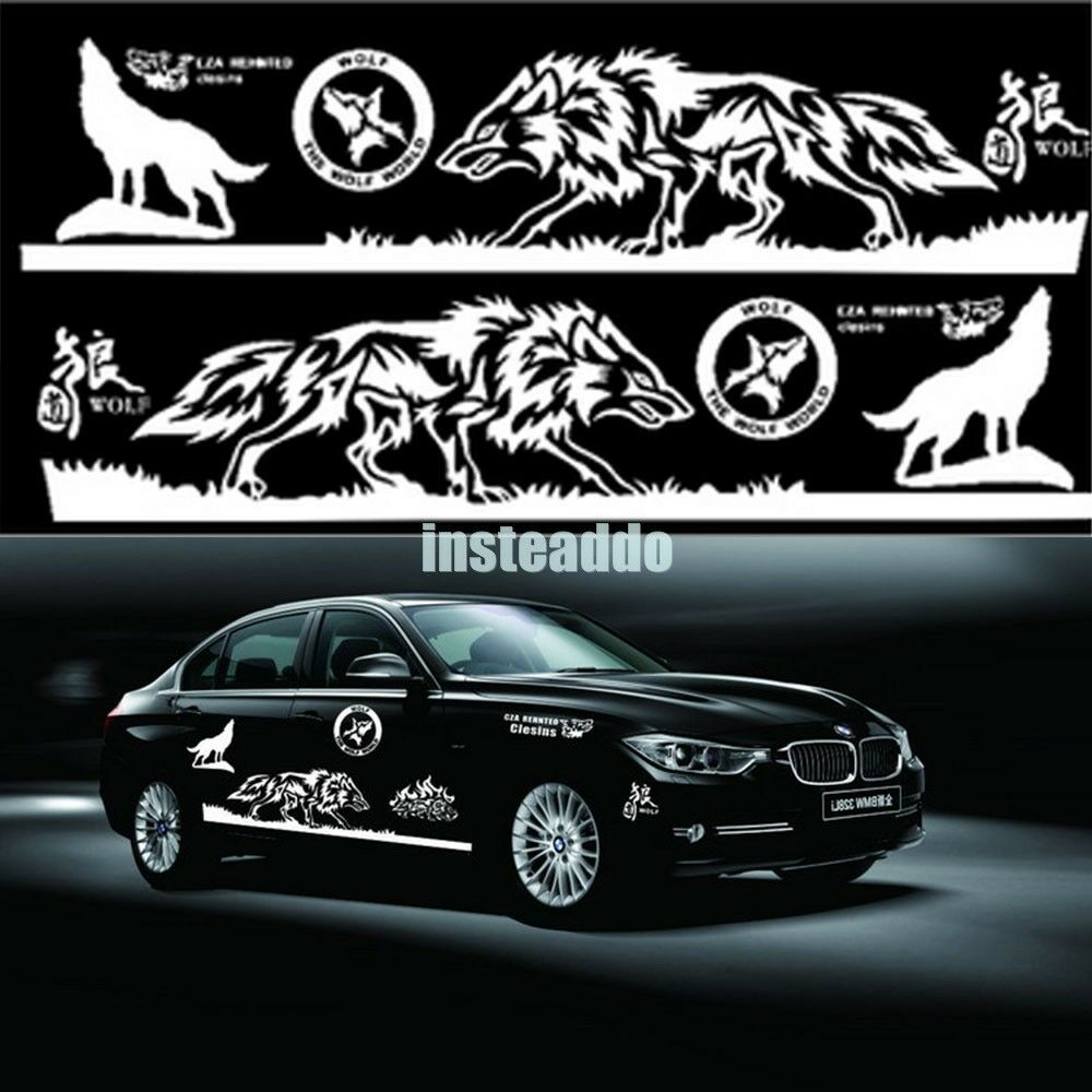 1 set white auto wolf head car hood sticker totem body decals 155cm waterproof ebay. Black Bedroom Furniture Sets. Home Design Ideas