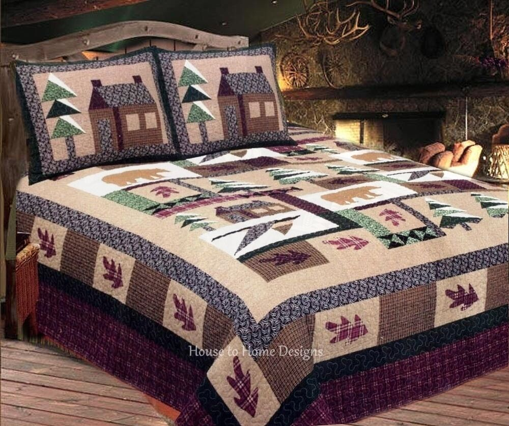 Winter cabin 3pc king quilt set timber bear pine for Winter cabin bedding