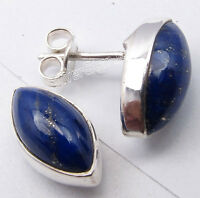 925 Sterling Silver LAPIS LAZULI Marquise Studs Post Earrings 1.5 CM 3.4 Grams