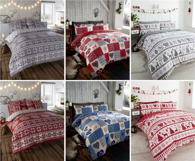 Christmas Duvet Sets Snowflake Yule Stag Quilt Cover Bed