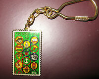 KEY RING Postage Stamp 75th Girl Scout 1987 Anniversary GIFT Multi=1 Ship Chrg