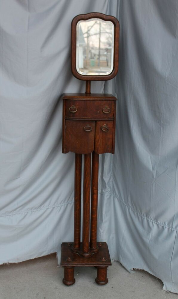 Antique Oak Shaving Stand With Adjustable Mirror