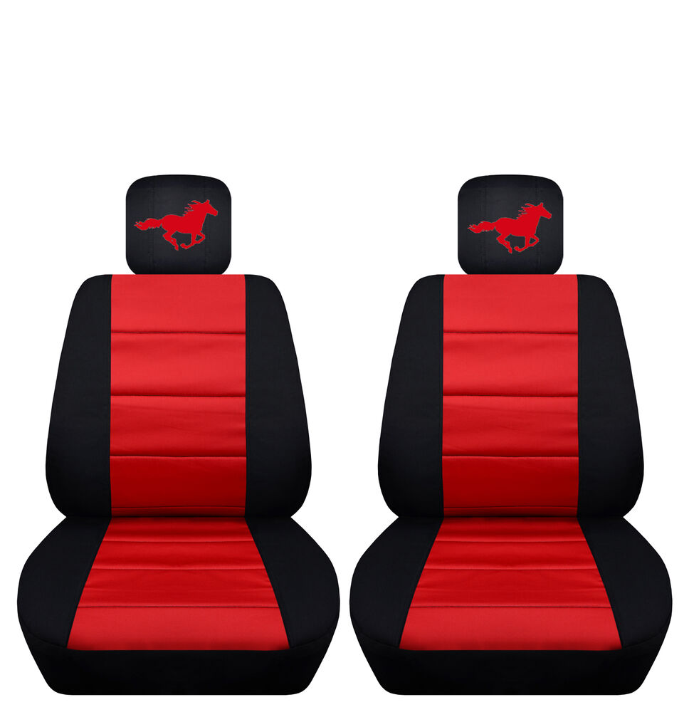 Two Tone Front Seat Covers With A Horse For 2013 To 2014