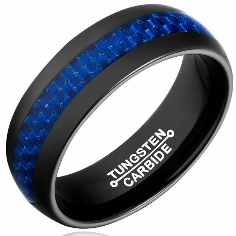 8mm Blue Carbon Fiber Tungsten Carbide Ring Wedding Band