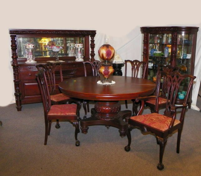 9 pc matching antique mahogany dining room set table for Dining room tables 1940s