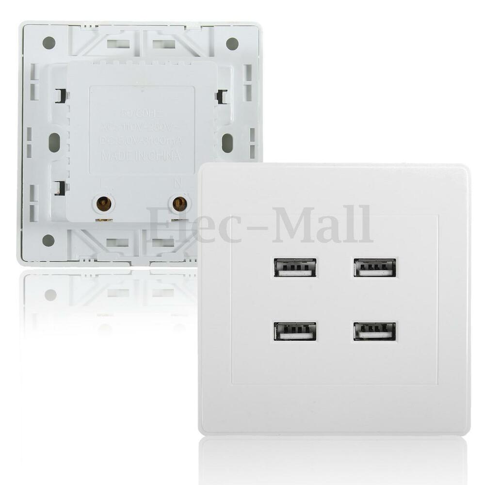 3 1a 4 Port Usb Wall Phone Charger Outlet Power Receptacle