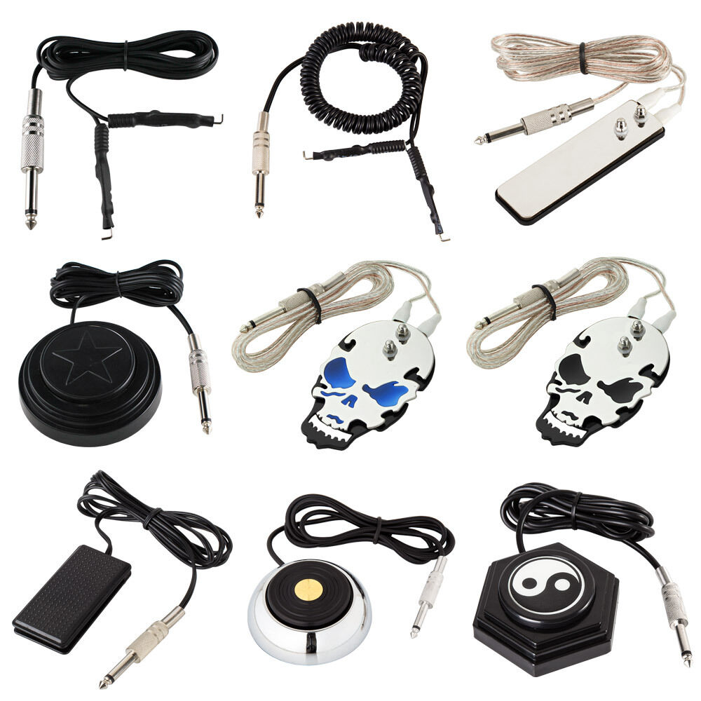 Tattoo clip cord flat round foot pedal switch for machine for Tattoo supplies ebay