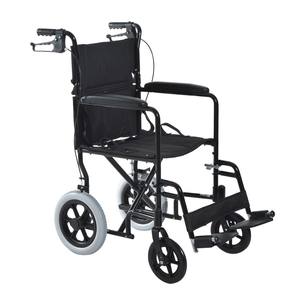 Lightweight Foldable Aluminum Wheelchair Transport Chair