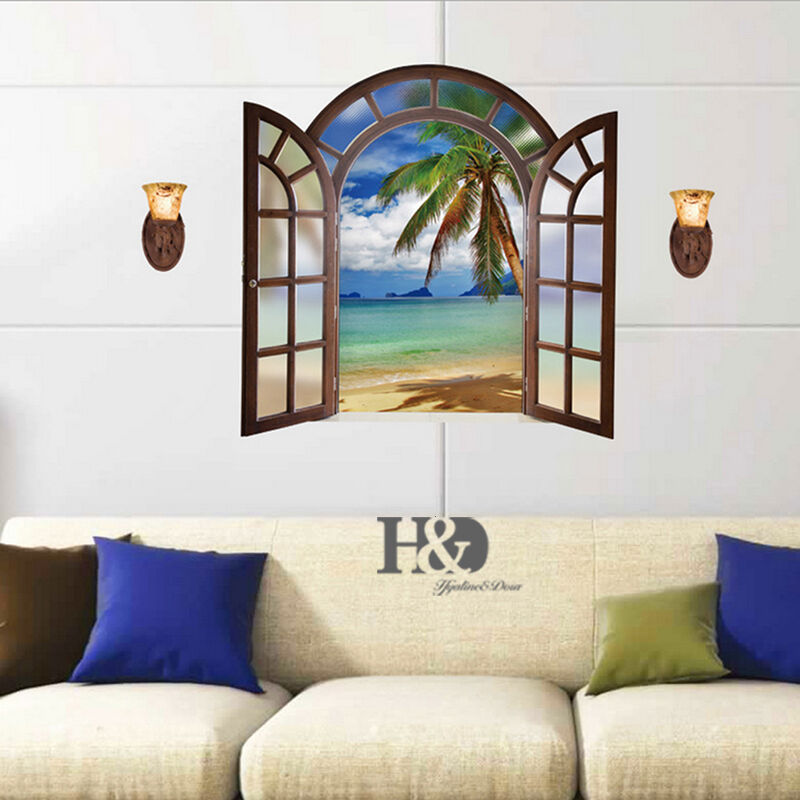 Wall Art Home Decor Murals ~ D window landscape removable wall sticker diy vinyl art