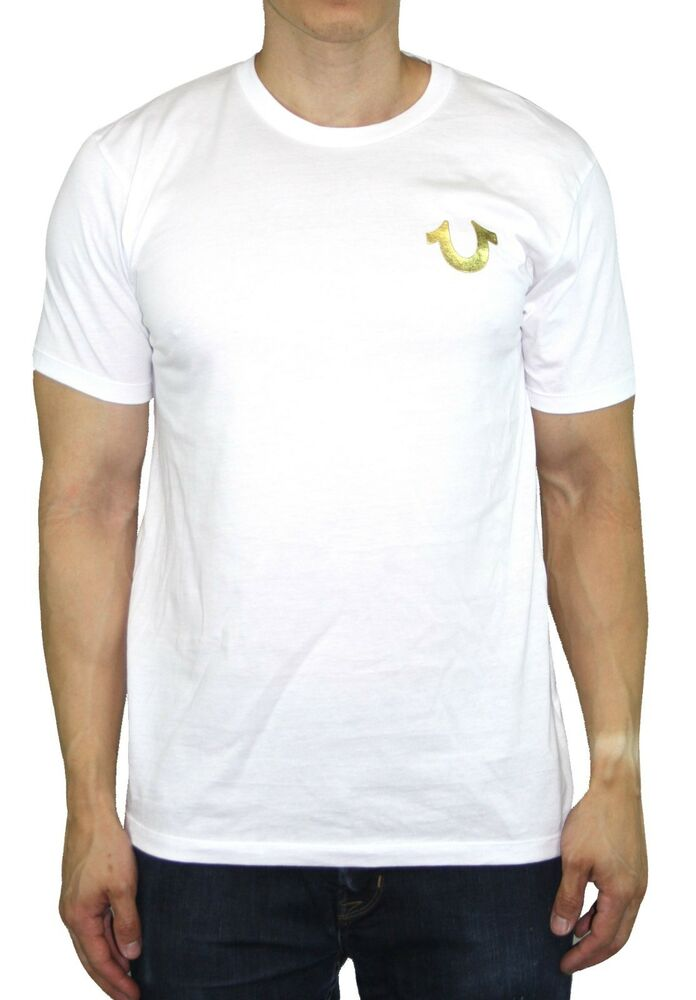 74acf3a8e Details about Men's True Religion T-Shirts Gold Shoestring Horseshoe logo  Vintage White Tee
