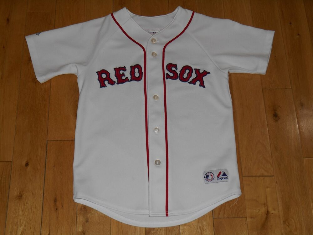 ef750271d Majestic White BOSTON RED SOX Blank Youth MLB Team Stitched Baseball JERSEY  Med