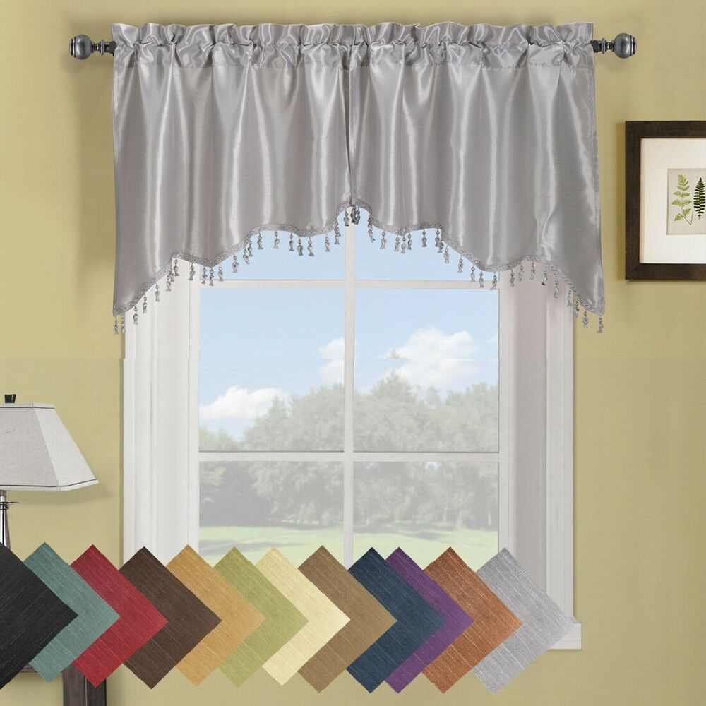 Luxury Soho Swag Valance Solid Pattern 70 X 30 Inches (Set