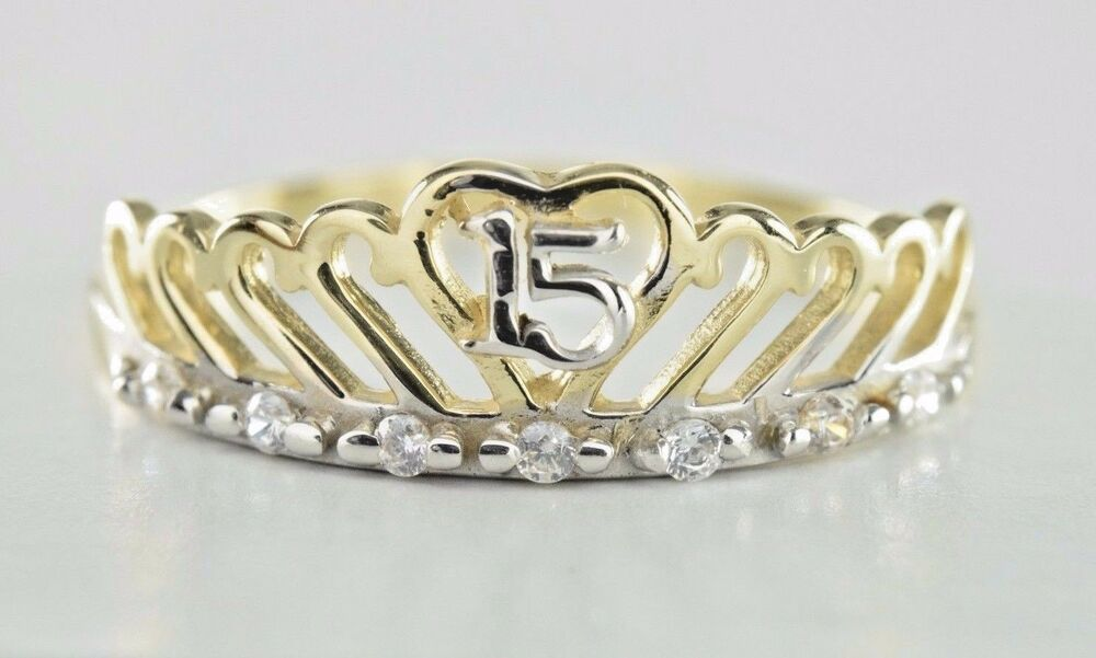 15 Anos Rings: 15 Anos Girls Crown Ring In 14k Solid Gold 15 Years Old