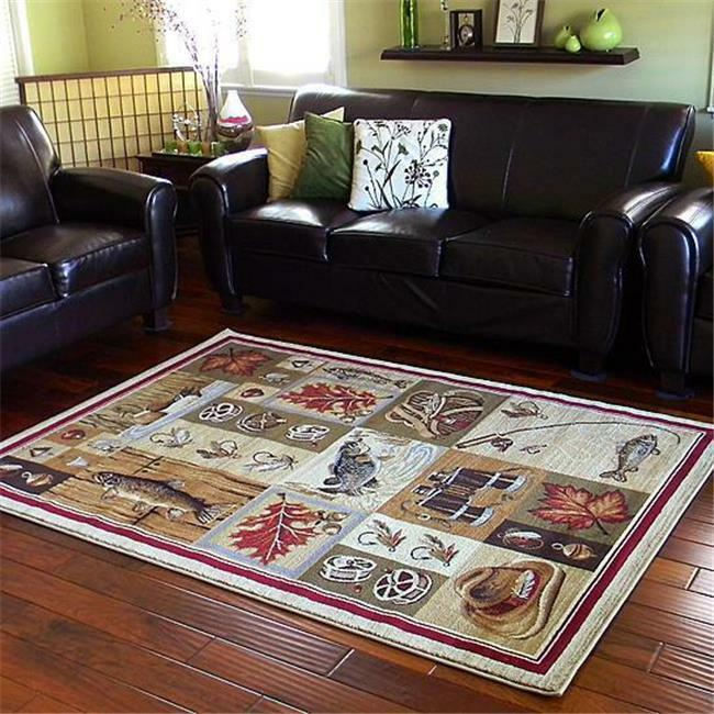 Wilderness fishing theme lodge mat rug reels fish area for Fish area rug