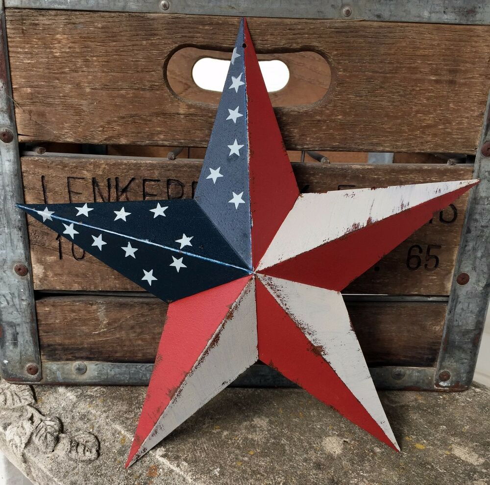 Primitive metal barn star americana 12 inch country rustic for Barn star decorations home