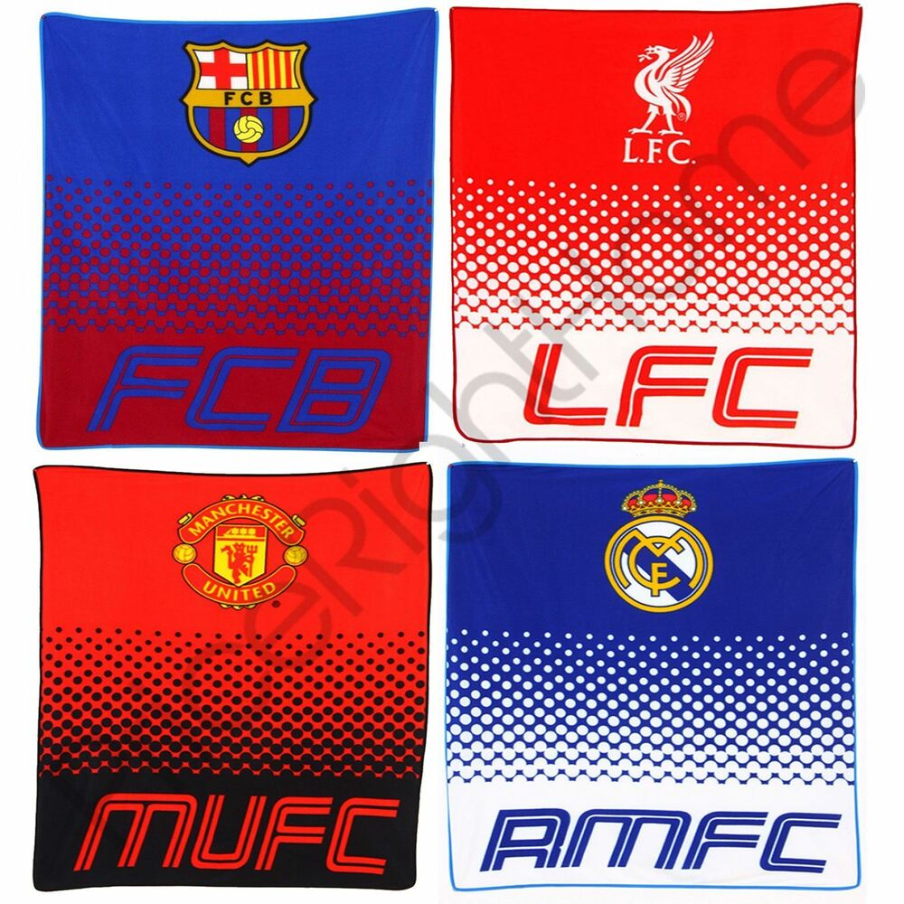 Liverpool Fc Bedroom Accessories Official Fc Fade Fleece Blankets Real Madrid Manchester United