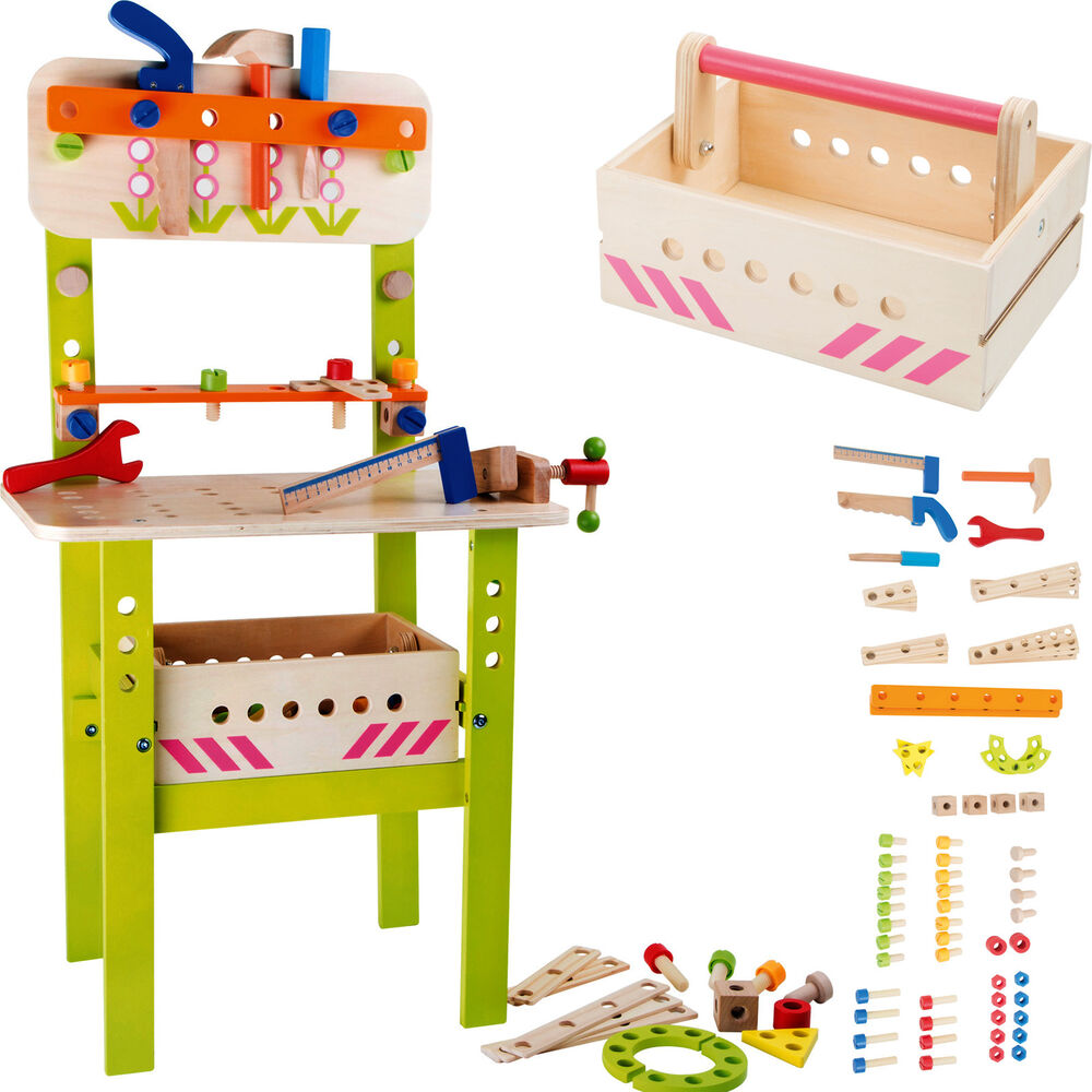 Workbench Wood Tool Box Children Werstatt Motor Skill Wooden Toy 45x30x85cm New Ebay