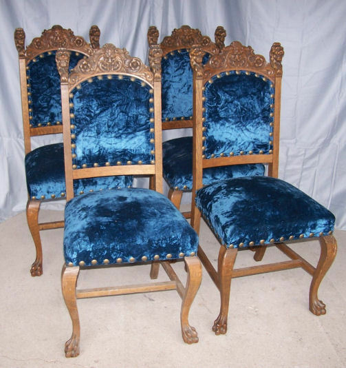 Chairs Tables: Antique Set Of Four Oak Chairs With Carved Lion Heads And