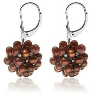 Unique! Sterling Silver & Chocolate Pearl Leverback Earrings Snowball Design