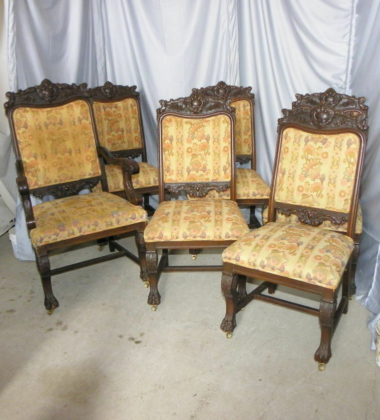 Antique Oak Dining Room Furniture: Set Of Six Antique Matching Formal Oak Dining Chairs