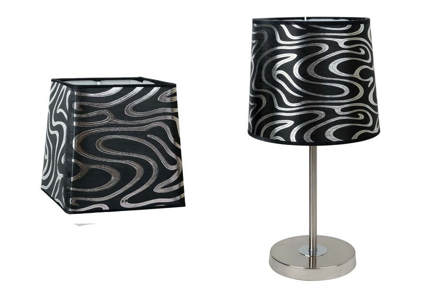 black silver swirl patterned table lamp shade small. Black Bedroom Furniture Sets. Home Design Ideas