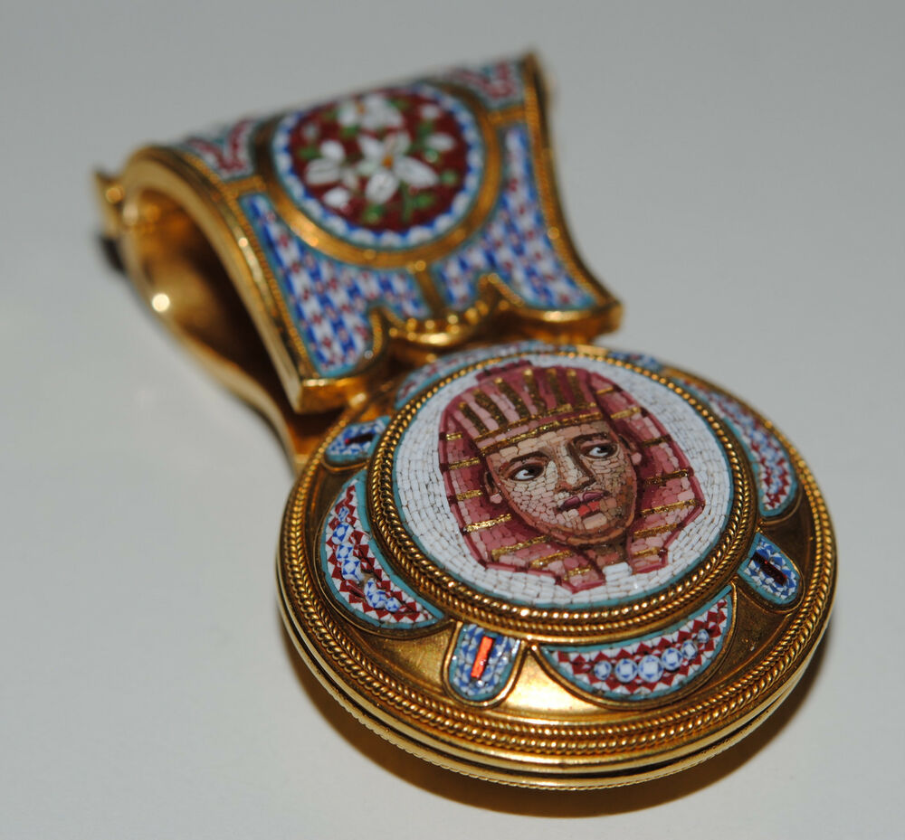 Rare Antique Micro Mosaic Egyptian Revival Yellow Gold