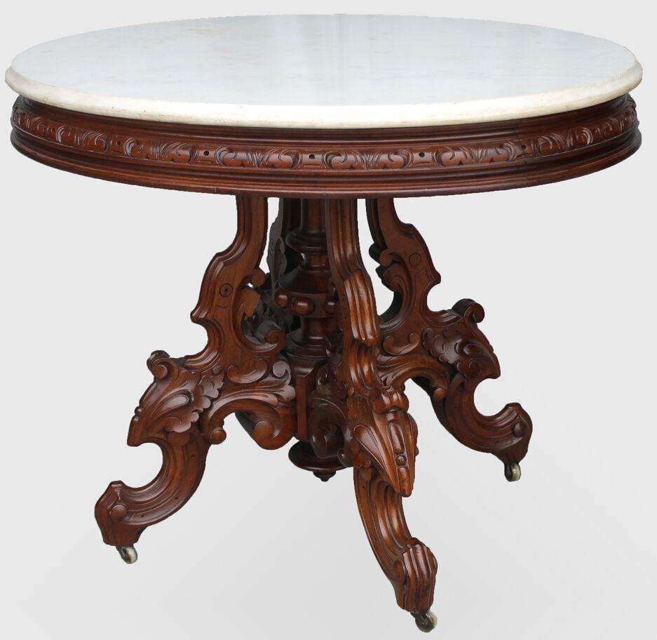 Antique Marble Top Coffee Table: Antique Victorian Marble-top Table Brooks Oval Table