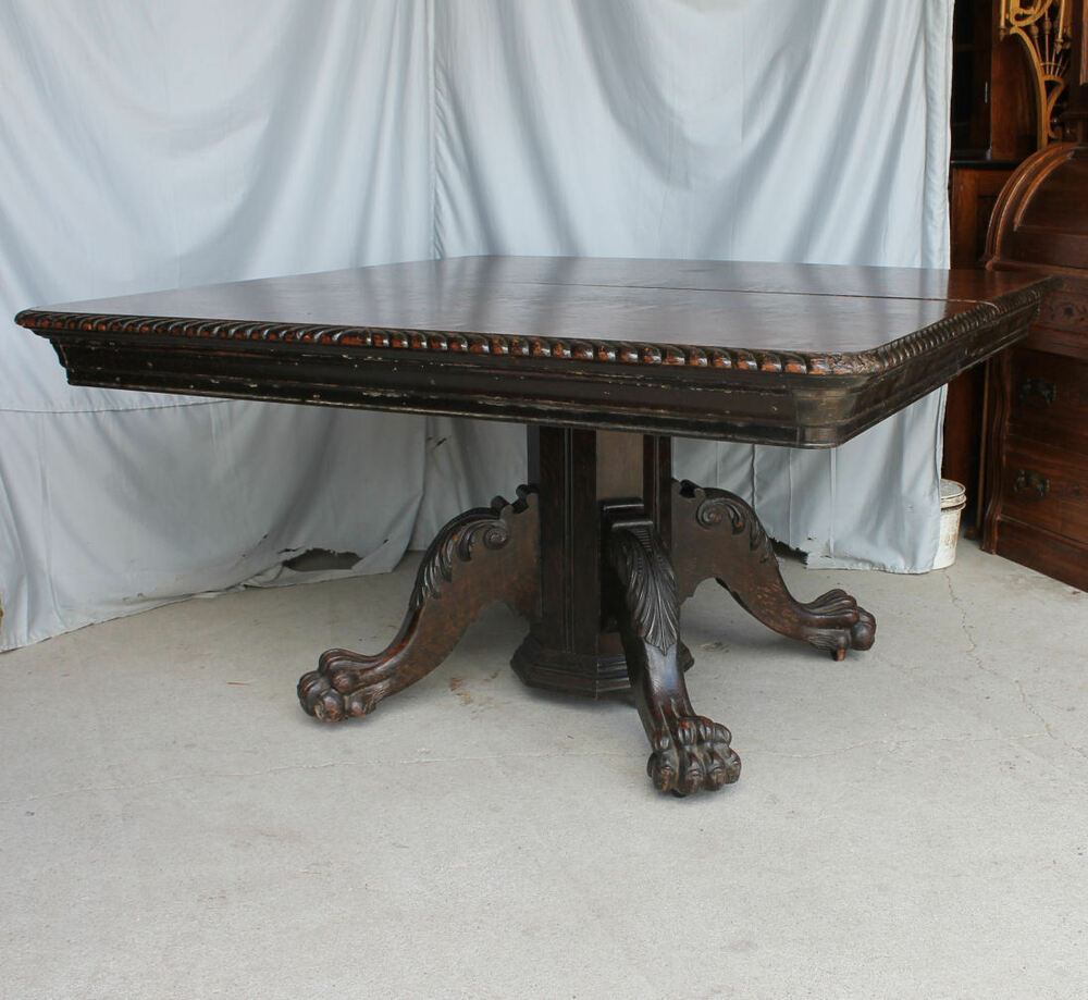 "Antique 54"" Square Oak Dining Table"