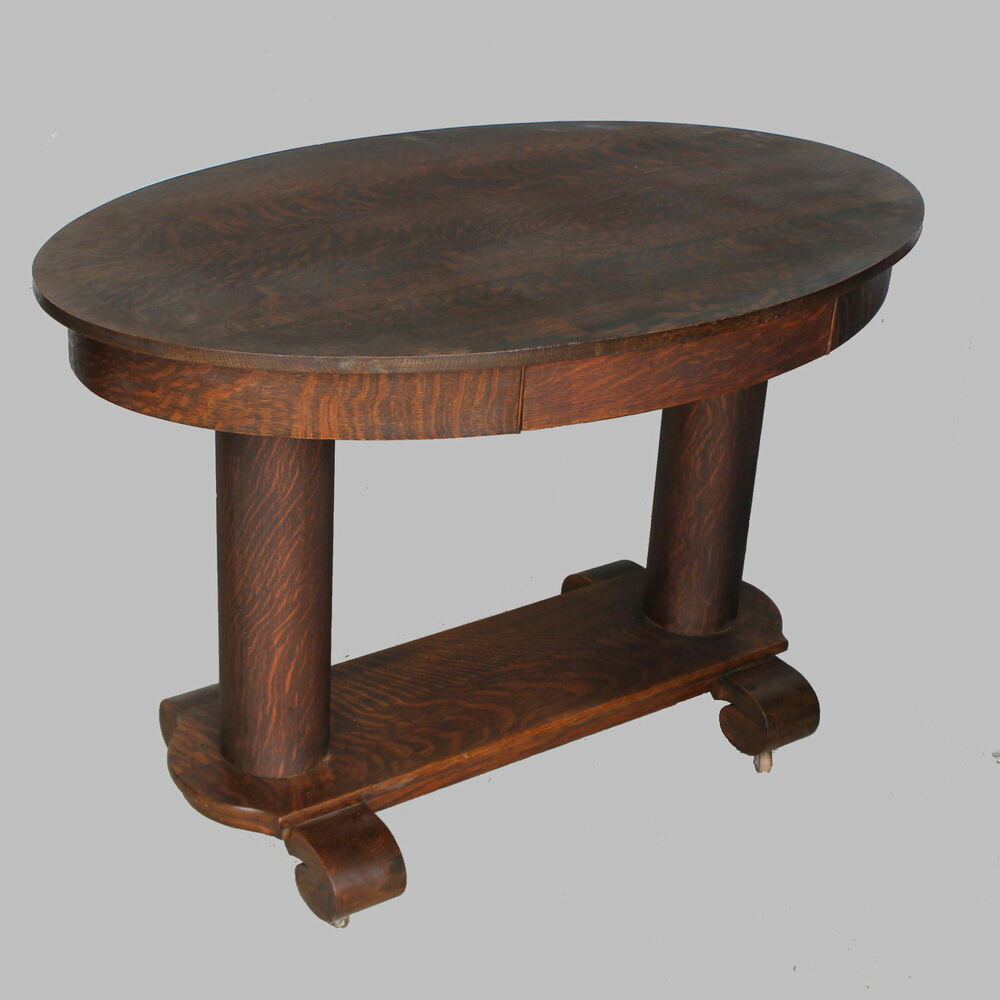 Antique Oak Table ~ Antique oval oak library table or small desk ebay