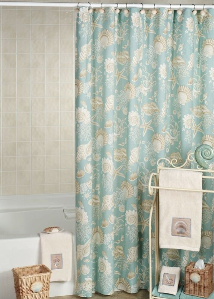 Natural Shells Shower Curtain Tropical Starfish Aqua