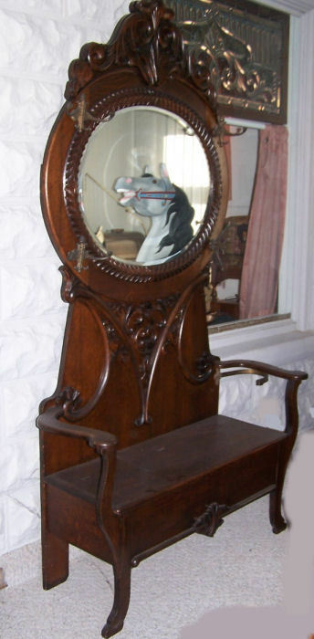 Large Antique Oval Mirror Oak Hall Tree With Lift Up Storage Seat Ebay