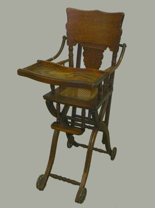 Antique Oak High Chair And Stroller Combination Chair Ebay