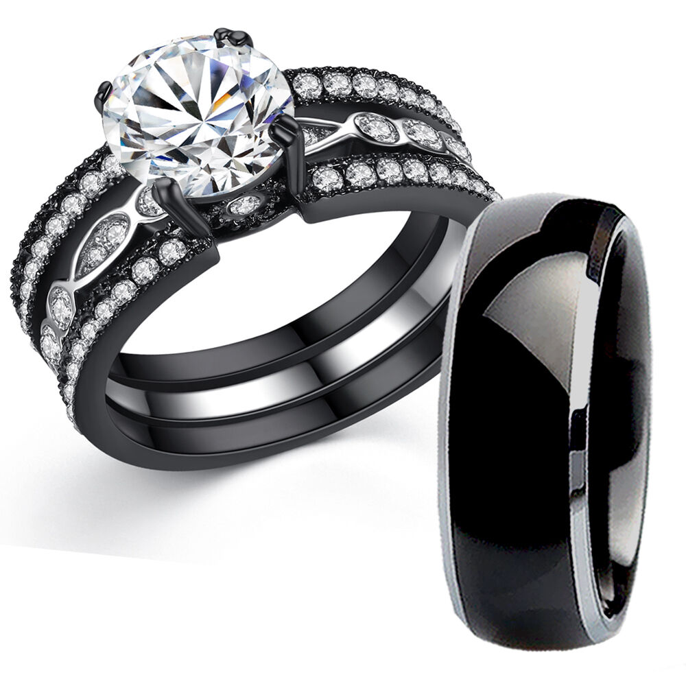 His Titanium Hers Black Stainless Steel Bridal Wedding