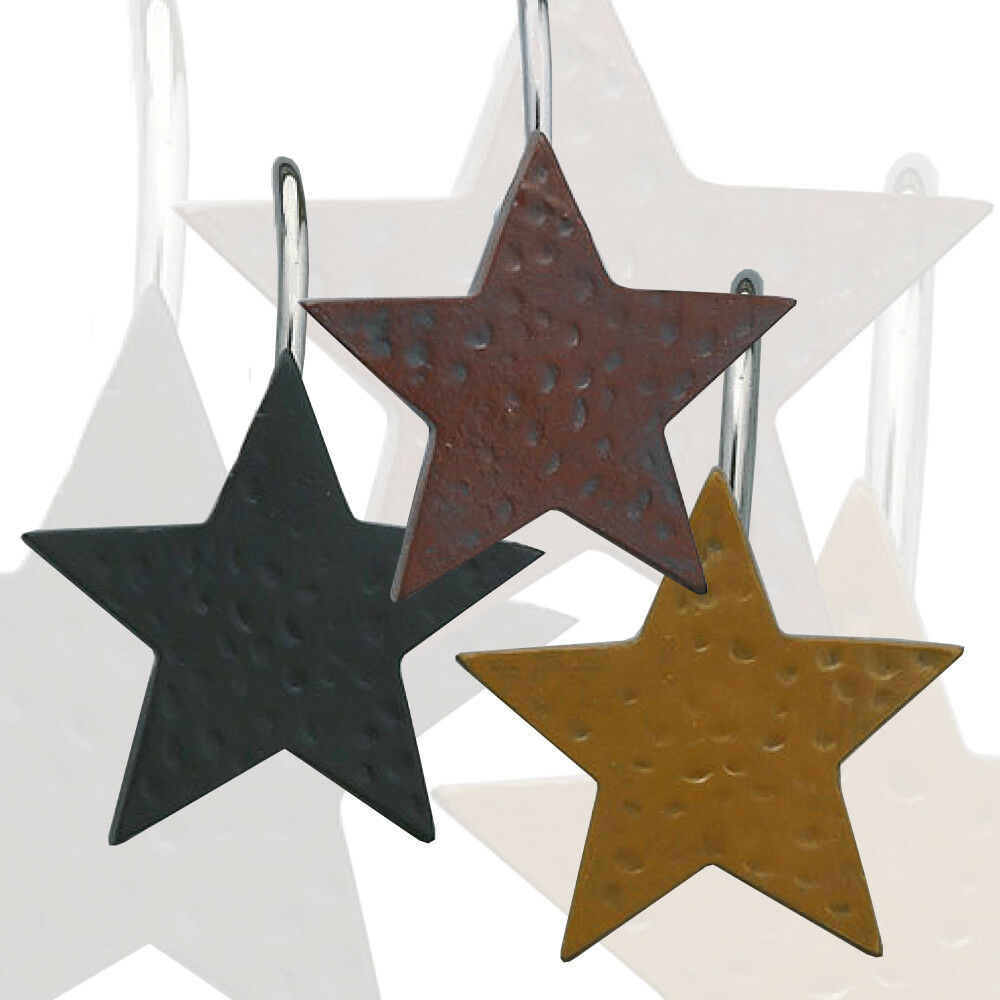 Details About Star Shower Curtain Hooks Set Of 12 Choice Burgundy Black Or Mustard