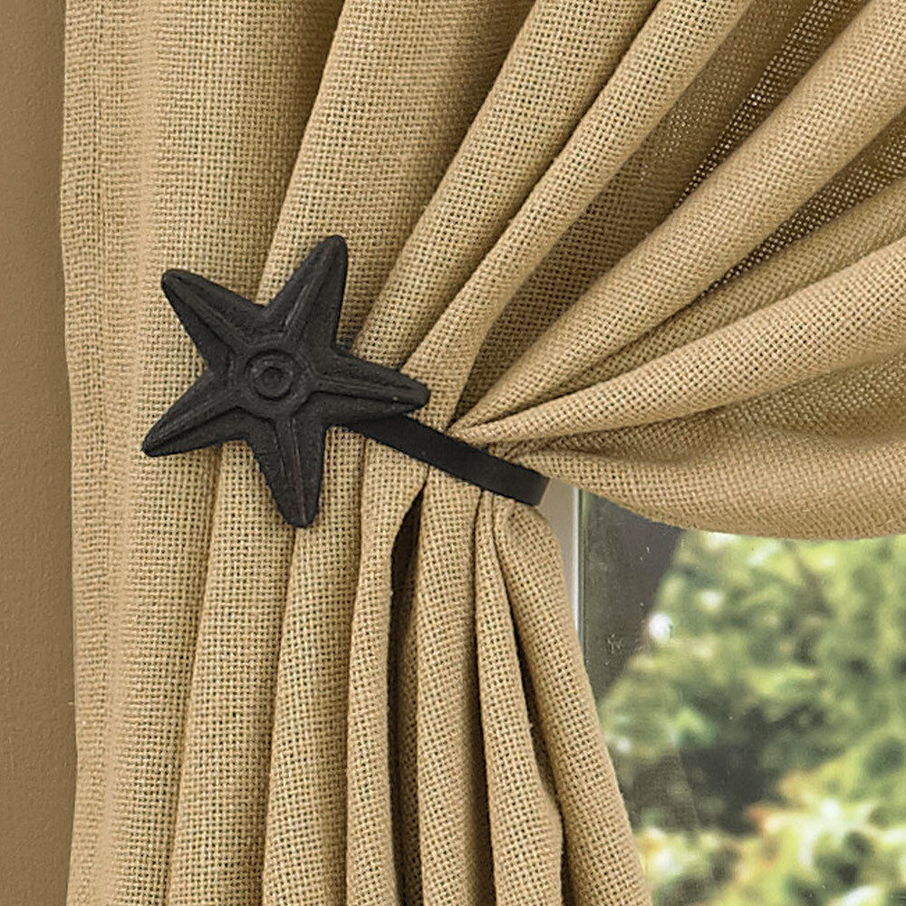 Drape Ties: Black Star Curtain Tie-Backs By Park Designs