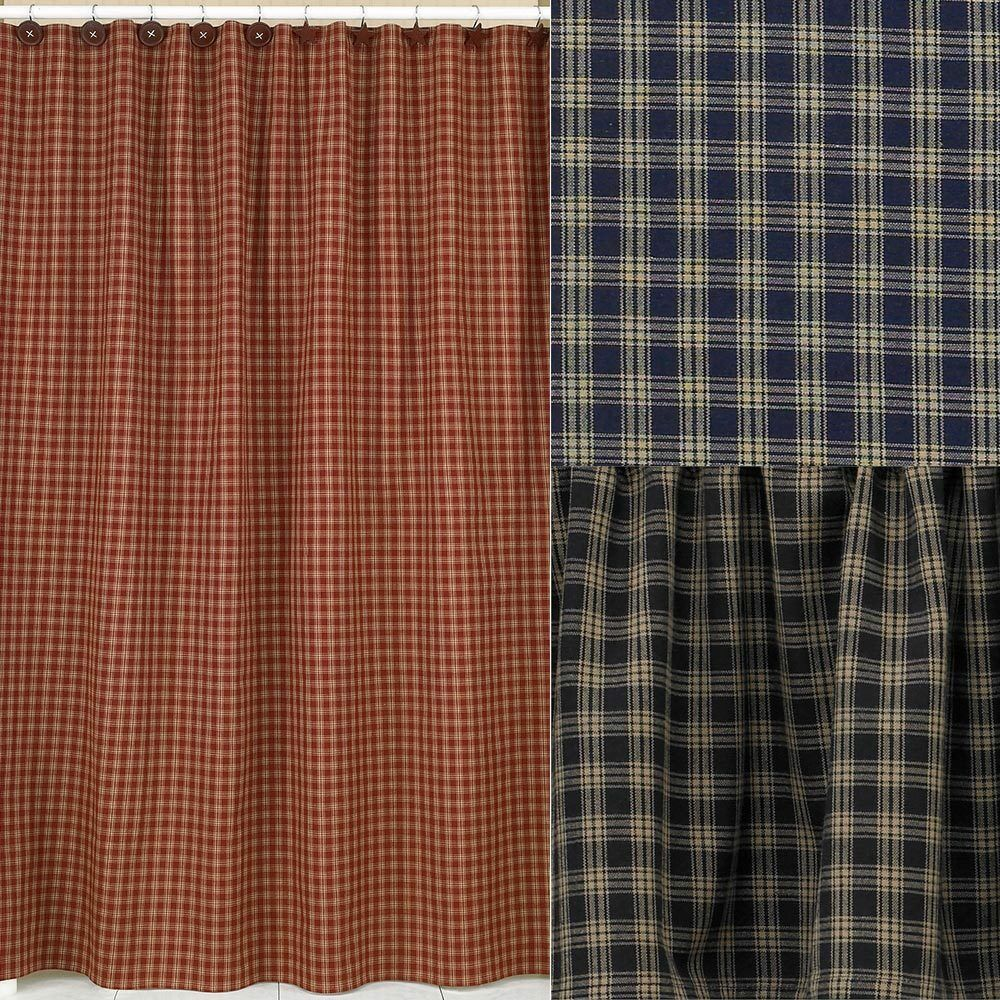 Details About Sturbridge Plaid Cotton Shower Curtain 72x72 Wine Black Navy