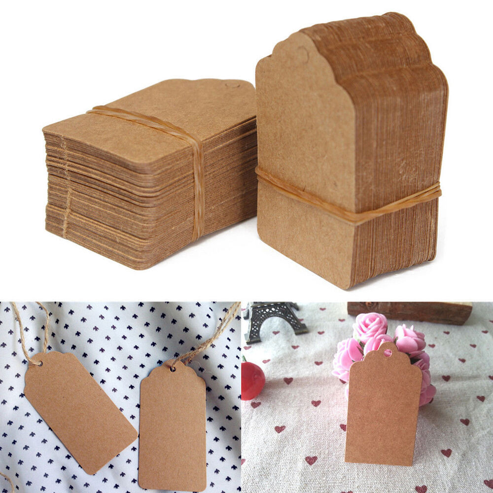 ... Brown Kraft Paper Hang Tags Wedding Favor Label Cards Gift eBay