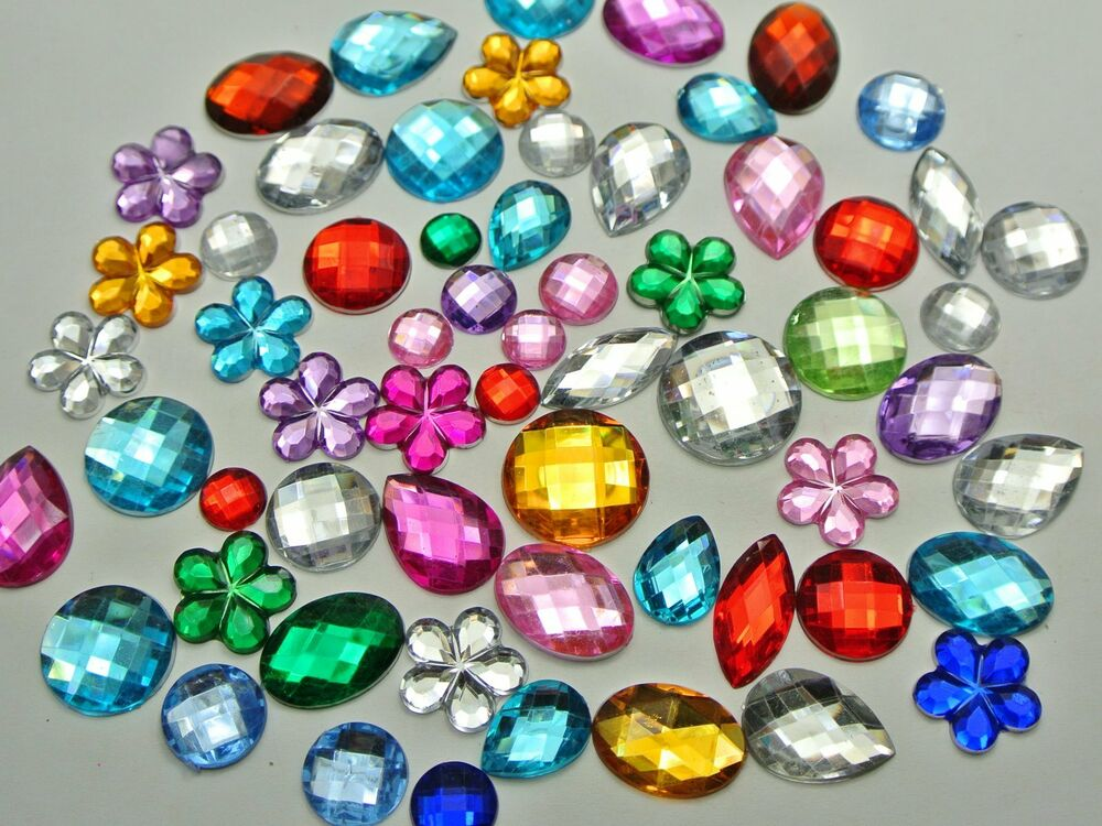 200 mixed color flatback acrylic rhinestone gems no hole for Rhinestone jewels for crafts