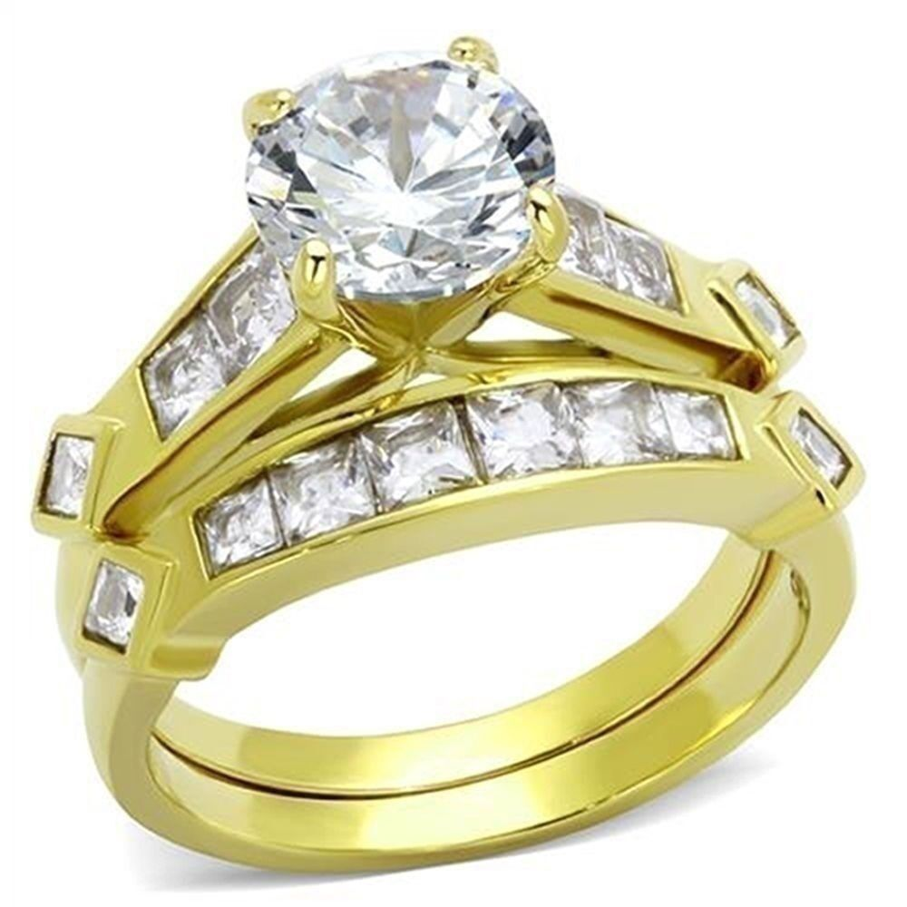 gold wedding rings sets women s 3 15 ct cz 14k gold plated bridal engagement 4561