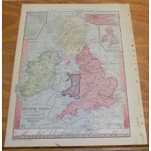 1885 Antique Map ///  BRITISH ISLES