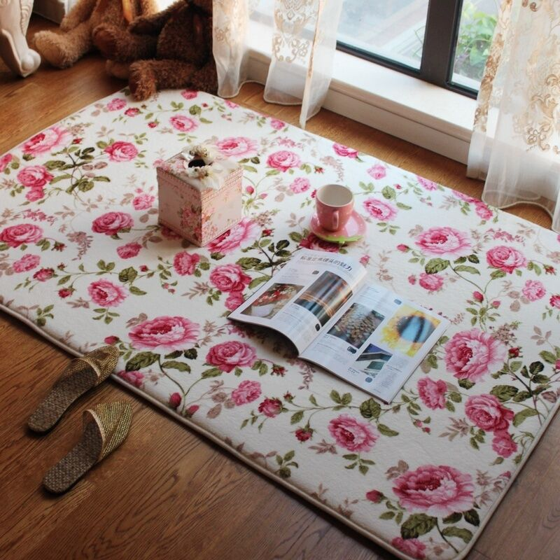 Romantic american country style floral room floor mats rose for living room rug ebay for Country style area rugs living room