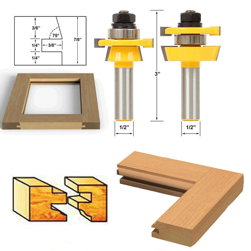 "New 2Pcs Rail & Stile Router Bit 1/2"" Shank Shaker Chisel"
